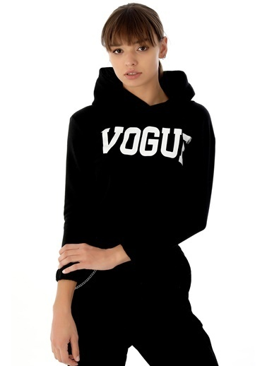 Emjey Vogue Baskılı Sweat Siyah